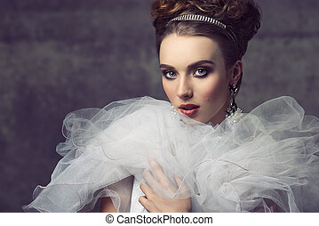 charming, aristocrático, vindima, mulher