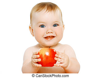 Charming baby with apple
