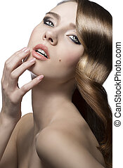 charming beauty woman - close-up portrait of charming woman...