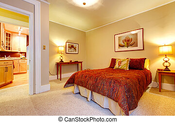 Charming bedroom with beautiful red bedding