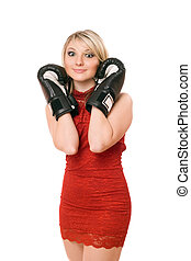 Charming blond lady in boxing gloves