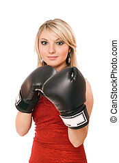 Charming blond woman in boxing gloves