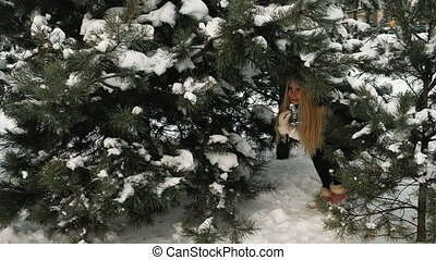 Charming blonde is glad that has found footpath from forest....