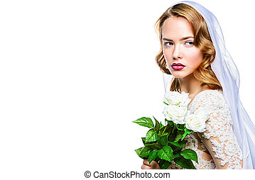 charming bride - Portrait of a beautiful bride woman in ...