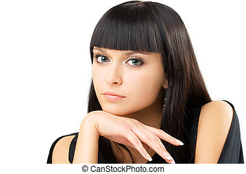 charming brunette - portrait of young charming brunette,...