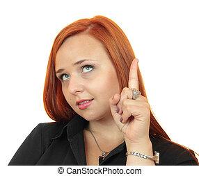 business lady pointing upwards