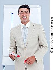 Charming businessman giving a presentation