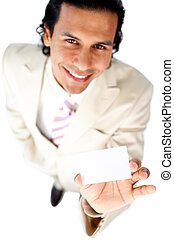 Charming businessman holding a white card