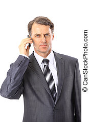 Charming businessman phoning isolated over white background