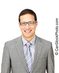 Charming businessman wearing glasses isolated on a white ...