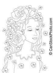 charming calm girl with roses in her wavy long hair standing wit