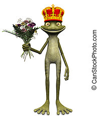 Charming cartoon frog prince. - A charming cartoon frog with...