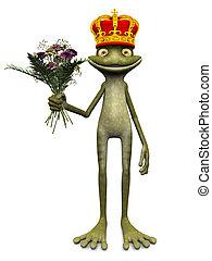 Charming cartoon frog prince. - A charming cartoon frog with...