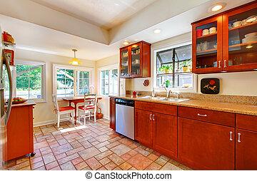 charming, cereja, madeira, cozinha, com, azulejo, floor.