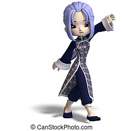 charming china cartoon figure in dark blue clothes. 3D rendering with clipping path and shadow over white