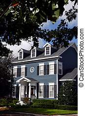 Charming Colonial Home - blue, two-story Colonial in small ...