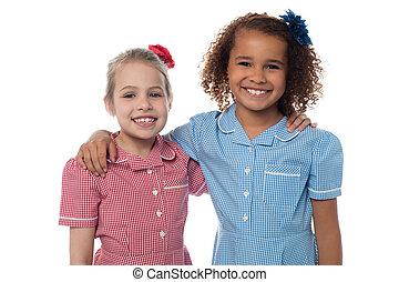 Charming cute school girls