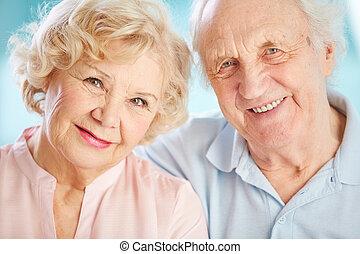Charming elders - Close-up portrait of a charming elder...