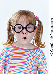 Charming geek - Portrait of a girl in funny glasses looking...