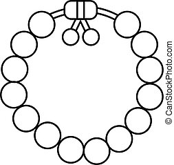 Charming gemstone bracelet icon , outline style