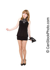 charming girl in a black short dress. Isolated on a white ...
