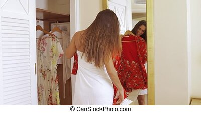 Charming girl preparing in morning - Young excited woman ...