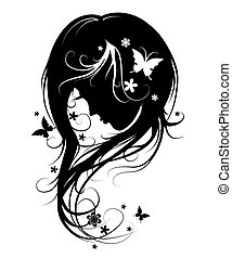 Background with silhouette beautiful girl with beautiful flowers and butterflies vector and flying hair on white background