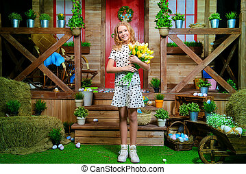 charming girl with flowers