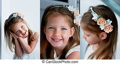 Charming girl with long ash-blond hair , lively blue eyes...