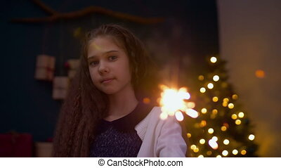 Charming girl with sparkler celebrating Christmas - Portrait...