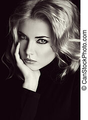charming glance - Portrait of a beautiful blonde woman with...