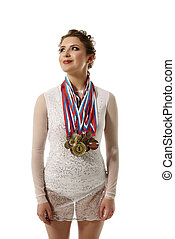 Charming gymnast with medals, isolated on white