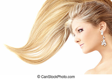 Profile of lying beauty with the smart hair, isolated