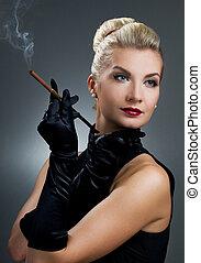 Charming lady smoking cigarette