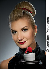 Charming lady with coffee cup