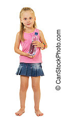 Charming little girl with bottle of water isolated on white