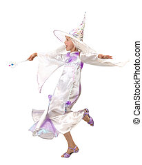 Charming Little Witch Jumping with a Magic Wand