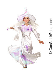 Charming Little Witch Whirling in Dance with a Magic Wand