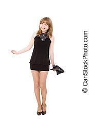 charming, menina, em, um, pretas, shortinho, vestido