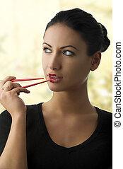 charming, mulher, com, chopstick