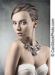 charming, mulher, com, elegante, maquiagem