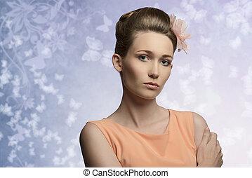 charming, mulher, em, beleza, retrato
