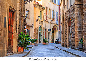 Charming narrow streets of Florence town in Tuscany, Italy
