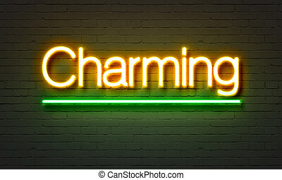 Charming neon sign on brick wall background.
