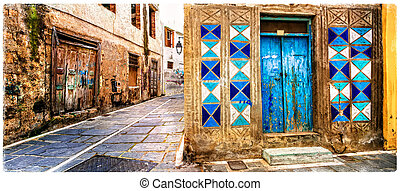 Charming old colorful streets of Greece, Rethymno town in Crete