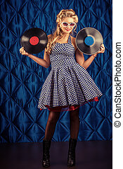vinyl record - Charming pin-up woman with retro hairstyle...