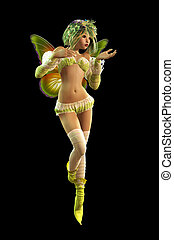 Charming Pixie, 3d CG - 3d computer graphics of a cute...