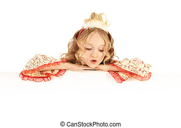 Charming Princess Holding Big Banner
