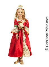 Charming Princess Holding Red Rose