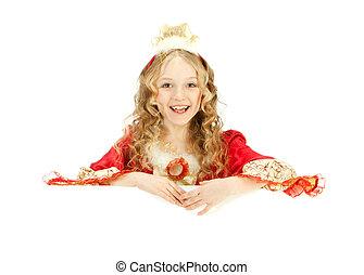Charming Princess Holding the Big Banner
